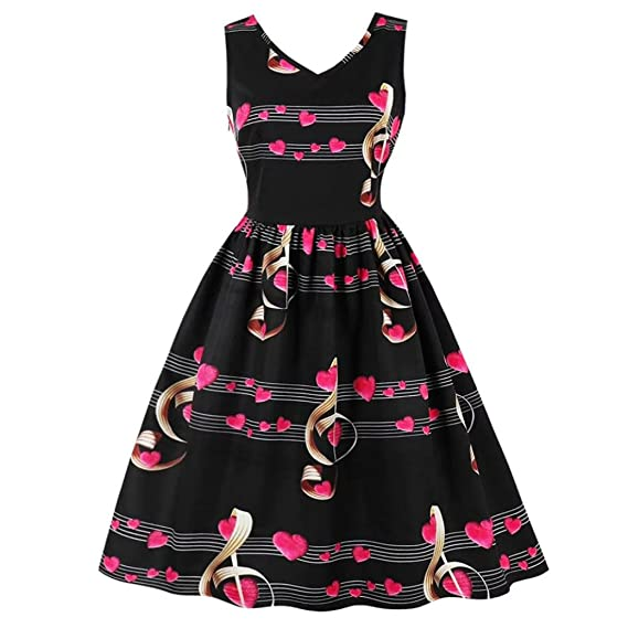 3fad8941b23f5 Amazon.com: Minisoya Women Musical Note Love Heart Printed Dress Vintage  Summer Sundress Evening Party Prom Swing Tea Dress: Clothing