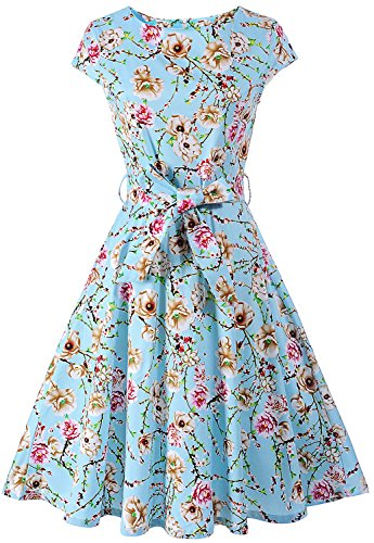 Womens Cap Sleeve Floral Print Picnic Party Vintage 1950s a-Line Cocktail Tea Dress Dr04 (Blue, L)