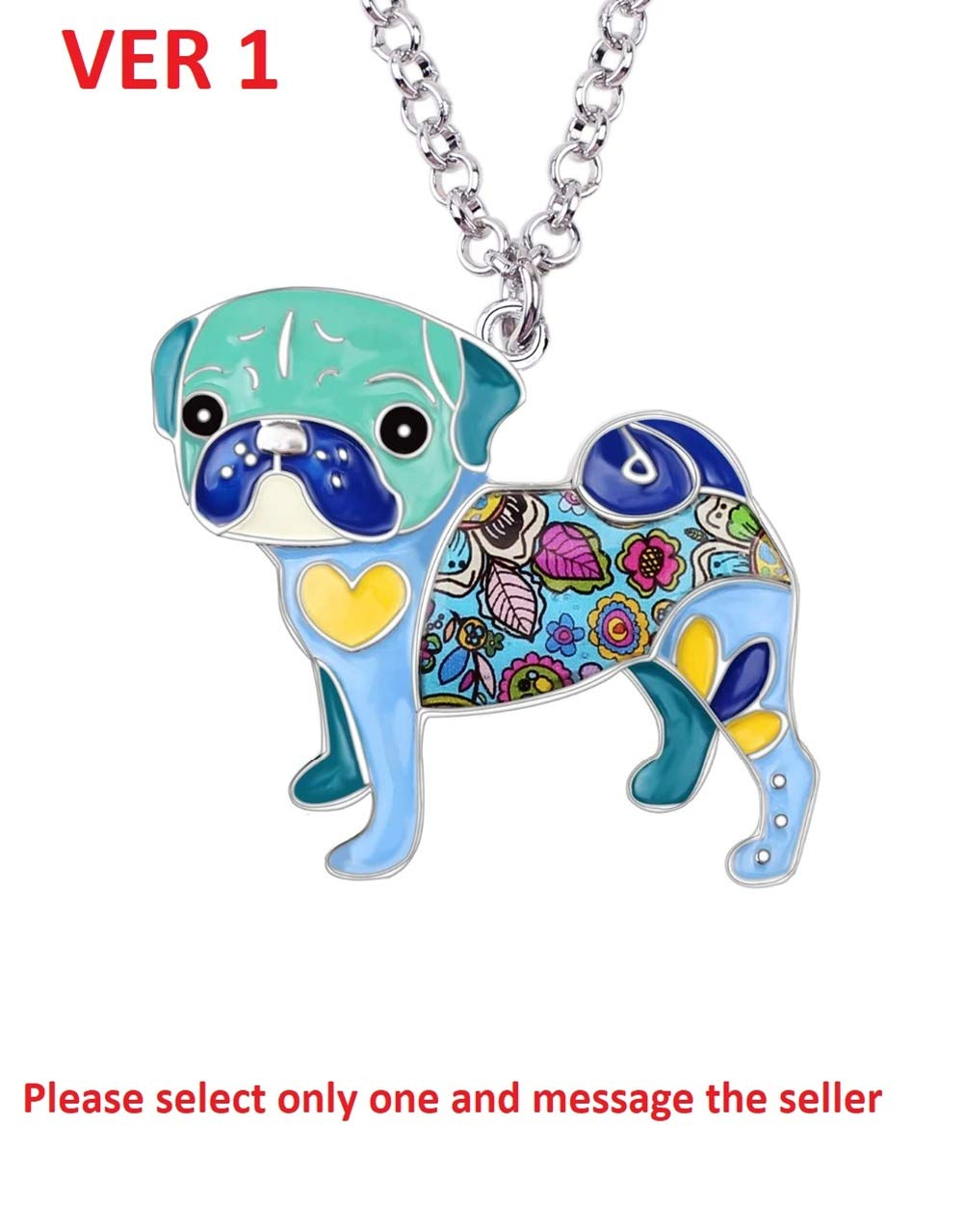 Bonsny Statement Metal Alloy Pug Dog Choker Necklace Chain Collar Pendant Fashion New Enamel PET Jewelry For Women Charms Gifts