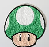 Green Mushroom Patch 1up Embroidered Iron on Badge Applique Costume Cosplay Mario Kart / Snes / Mario World / Super Mario Brothers / Mario Allstars