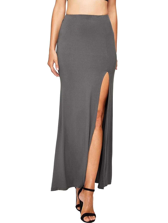 Dark Grey Verdusa Women's Solid color High Waist Side Split Maxi Skirt