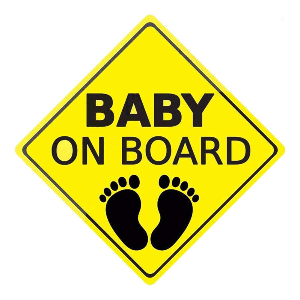 jiyoujianzhu BABY ON BOARD Car Sticker Footprint Body Window Reflective Warning Sign Decor Black + Yellow