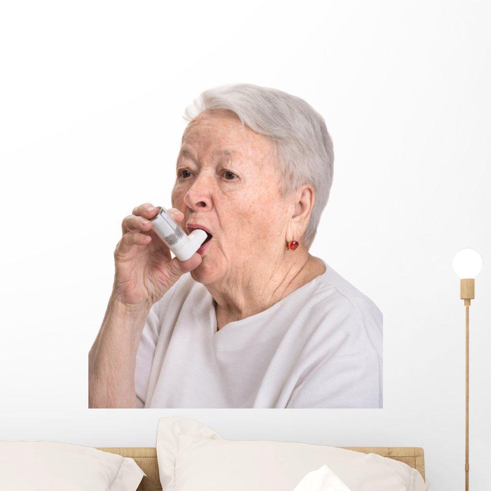 Wallmonkeys Senior Woman with Asthma Wall Decal Peel and Stick Graphic (24 in H x 21 in W) WM335116 by Wallmonkeys