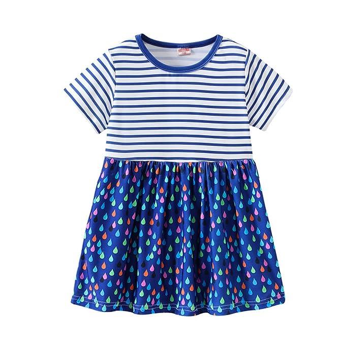 Baumwolle Casual Kleider Besondere Anl/ässe Cartoon Print Kleider Casual Dress f/ür Kleinkind bobo4818 Baby M/ädchen Kleider 5T, Blue