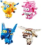 "Super Wings - Transform-a-Bots 4 Pack | Donnie, Dizzy, Jerome, Bello | Toy Figures | 2"" Scale"