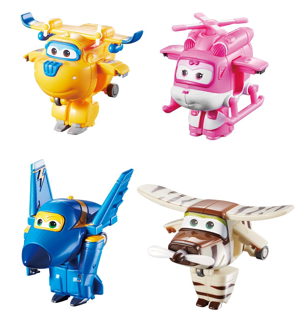 Super Wings - Transform-a-Bots 4 Pack | Donnie, Dizzy, Jerome, Bello | Toy Figures | 2'' Scale