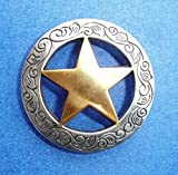 Western Equestrian Decor Set Of 6 Conchos Engraved Rangers Gold Star 1-1/8""