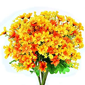Turelifes 4pcs Artificial Flowers Bouquets Fake Mini Daisy Flower 7 Branches 28 Heads Silk Floral for Office Home Wedding Decoration (Orange) 20