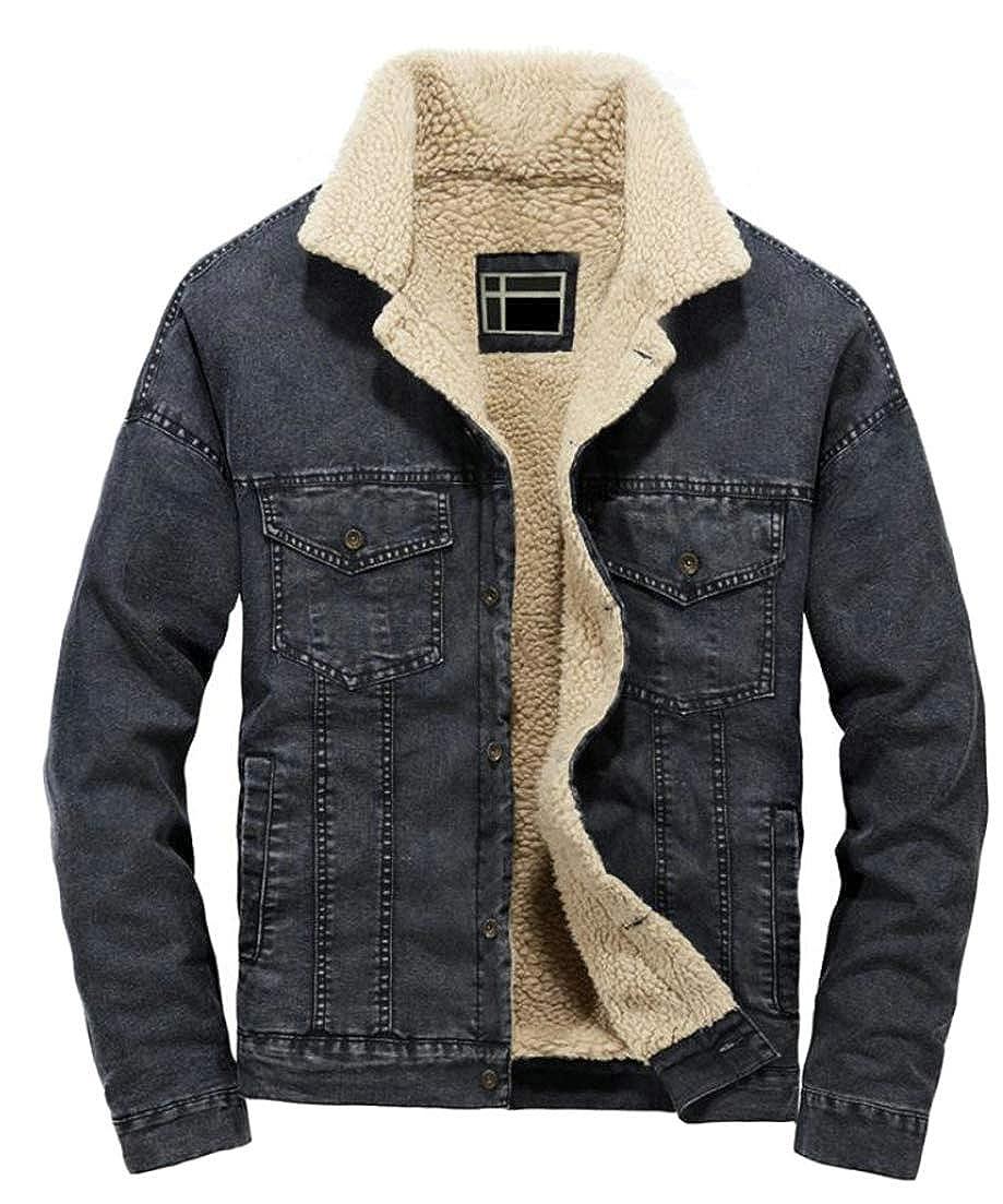 Hajotrawa Mens Outside Stylish Denim Autumn Winter Sherpa Coat Washed Fleece Jacket