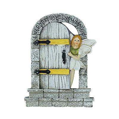 MUAMAX Fairy Door Miniature Door Mystical Door Magical Entrance Every Day Holds New Magic,Gifts Terrarium Charming Cobblestone Door: Garden & Outdoor