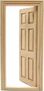 AUEAR, 1:12 Dollhouse Miniature Furniture Unpaint Wooden Doors for DIY Scene Doll Home Furniture Craft (6 Panel)