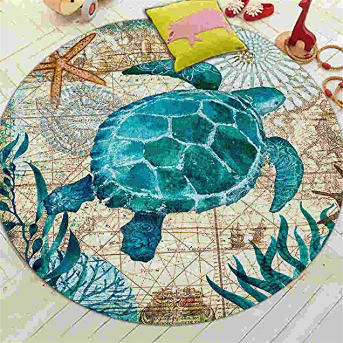 - JONARO Coral Velvet Computer Chair Floor Mat Sea Turtle Octopus Printed Round Carpet for Children Bedroom Play Tent Area Rug