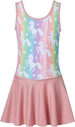 Lovefairy Gymnastics Dance Leotards Skirt for Girls Sparkle Sleeveless Ballet Tutu Dress 4-8 Years