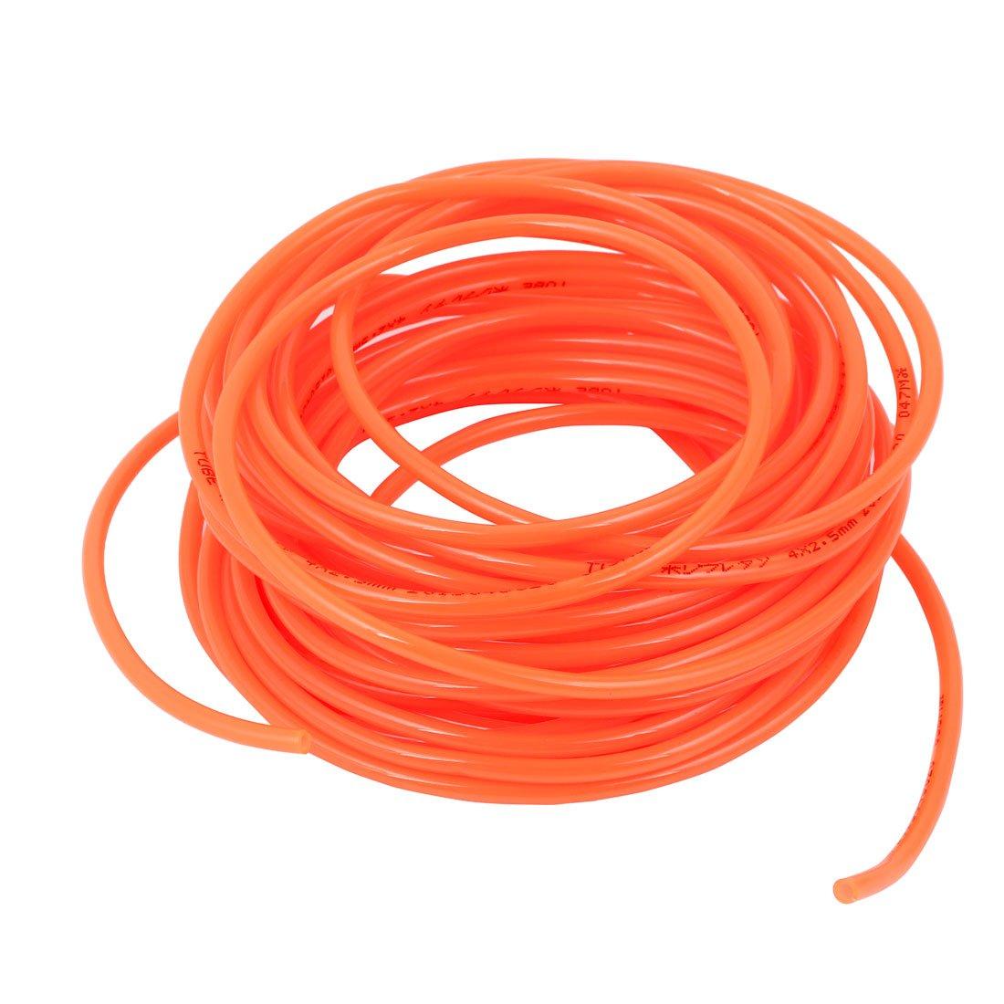 sourcingmap/® 10 metro lungo 4 mm x 2.5mm arancione poliuretano flessibile di aria pu tubo flessibile della tubazione