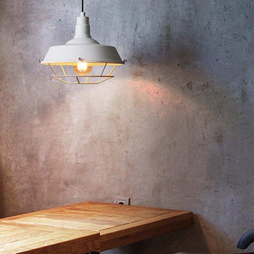 Modern pendant light Deckenleuchte   E27  1 Industrial Industrielle Retro Style Eisen Mesh Lampe Pendelleuchte Haushalts Kronleuchter (Farbe   Weiß)