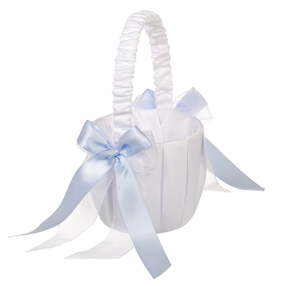 Remedios Variety Colors Double Bow Wedding Flower Girl Basket, Fuchsia LWCAHL1607CP1S91