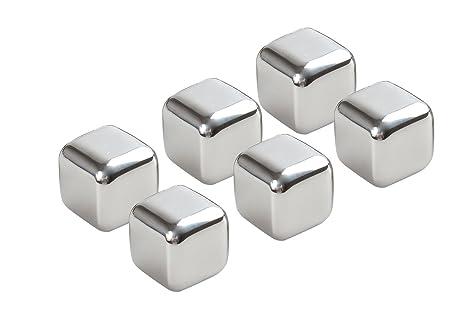 Cubitos de hielo Monumentum de acero inoxidable, juego de 6 cubitos en caja transparente para su almacenamiento de 9cm x 6cm x 3cm, Mod. IC-A-6