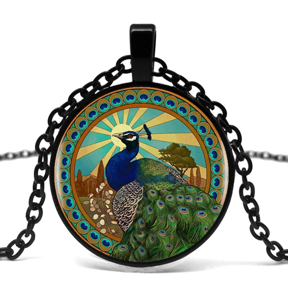Mens necklace Peacock King Logo Pendant Necklace Handmade Chain Round Retro Necklace Female MenS Dress Dress Accessories