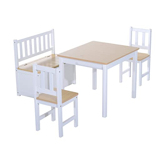 HOMCOM 4PC Wooden Children Table 2 Chairs Toy Storage Bench Seat Seating  Stool Kids Furniture Set