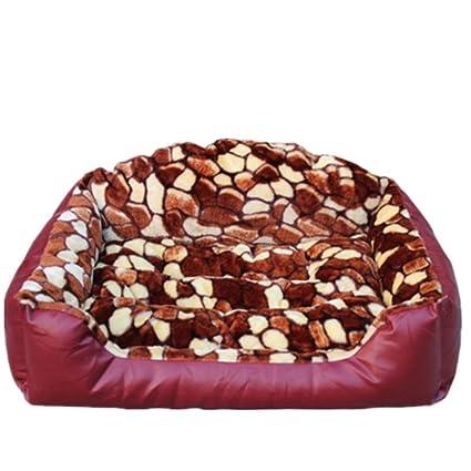 Respaldo alto piel cama caseta Otoño y el invierno cálido rojo perro cama pequeño perro algodón