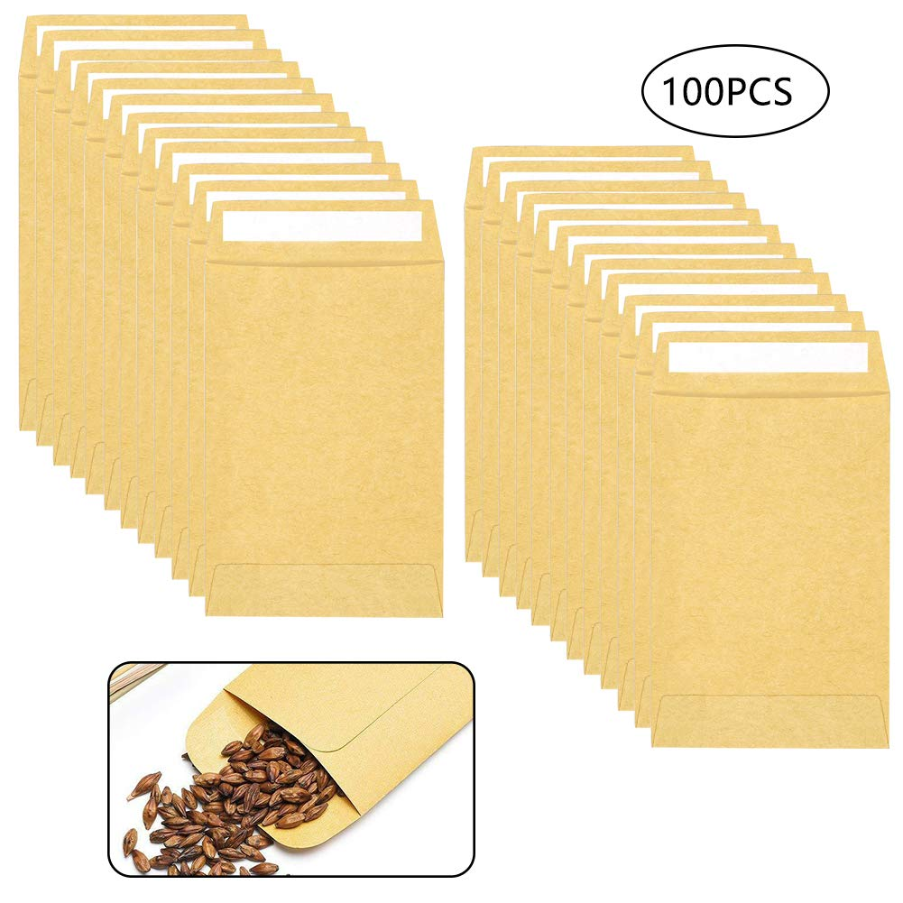Qincling 100 PCS Coin Envelopes Self-Adhesive Mini Kraft Paper Coin /& Small Parts Envelopes Brown Dinner Money Seed Envelopes for Coin,Jewelry,Stamps,Craft Supplies,Small Items 3.54 /× 2.36inch