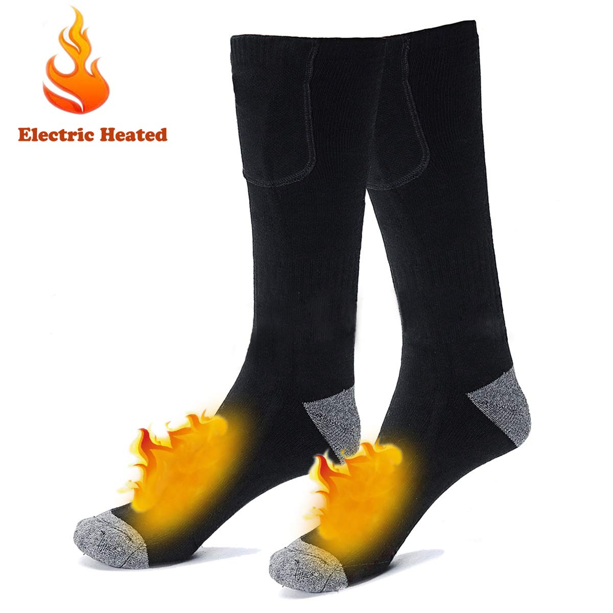 Electric Rechargeable Battery Heated Socks for Men Women,Winter Warm Thermo-Socks Outdoor Sports Ski Heating Sox for Cold Feet Thermal Socks Foot Warmer ... by Pokerking