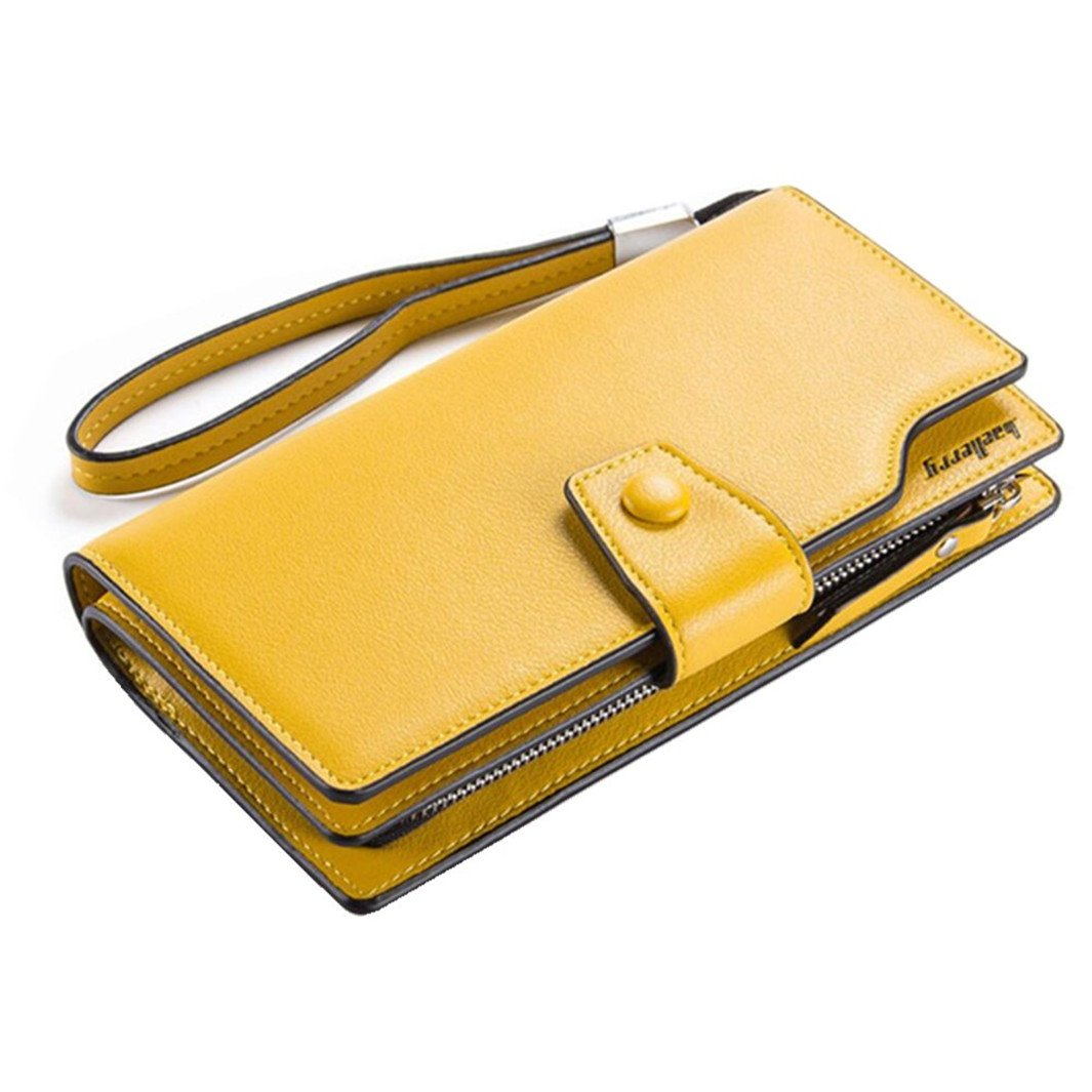 Women's Large Capacity PU Leather Clutch Wallet Card Holder Money Organizer Ladies' Purse with Wristlet Strap (Yellow)