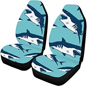 INTERESTPRINT Universal Car Seat Cover Front Seats Set of 2, Airbag Compatible Shark Pattern