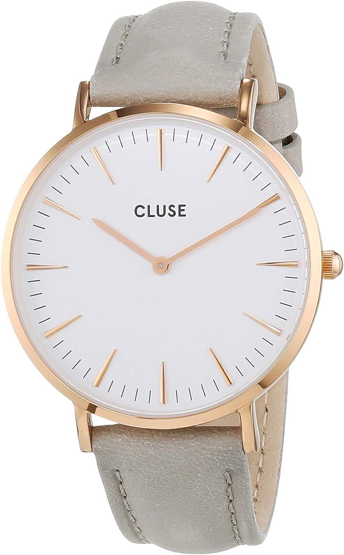 CLUSE - Reloj de mujer La Boheme chapado en oro rosa, blanco/gris CL18015