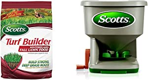Scotts Turf Builder WinterGuard Fall Lawn Food, 12.5 lb. - Fall Lawn Fertilizer Builds Strong, Deep Grass Roots for a Better Lawn Next Spring - Covers 5,000 sq. ft. & Whirl Hand-Powered Spreader