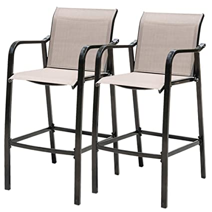 Incredible Sundale Outdoor Counter Height Bar Stool All Weather Patio Furniture With Quick Dry Textilene Fabric 2 Pcs Set Brown Frankydiablos Diy Chair Ideas Frankydiabloscom