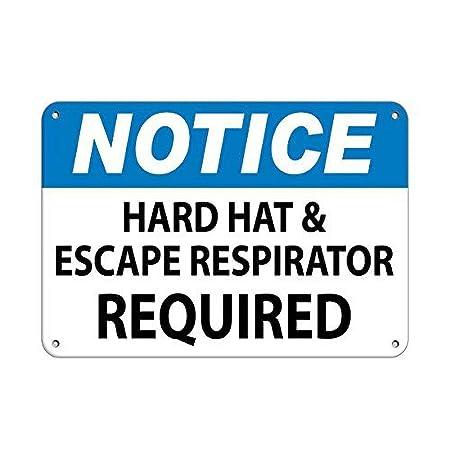 Tarfy Notice Hard Hat AMD Escape Respirator Hazard Sign Fire ...