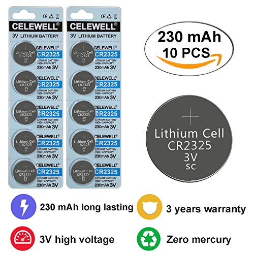 CELEWELL CR2325 3V Lithium Battery for Skydiving Altimeters/Calculators/Electronics 230mAh 10 Pack 3 Years Warranty
