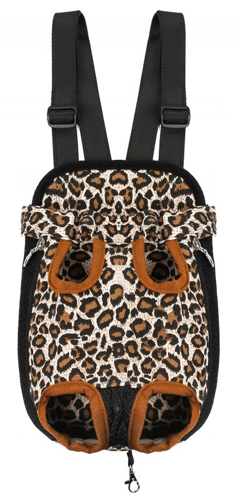 Prettysell Pet Dog Puppy Cat Carrier Five Holes Backpack Double Shoulder Straps Canvas Cotton Front Chest Backpack Bag-Large,Leopard
