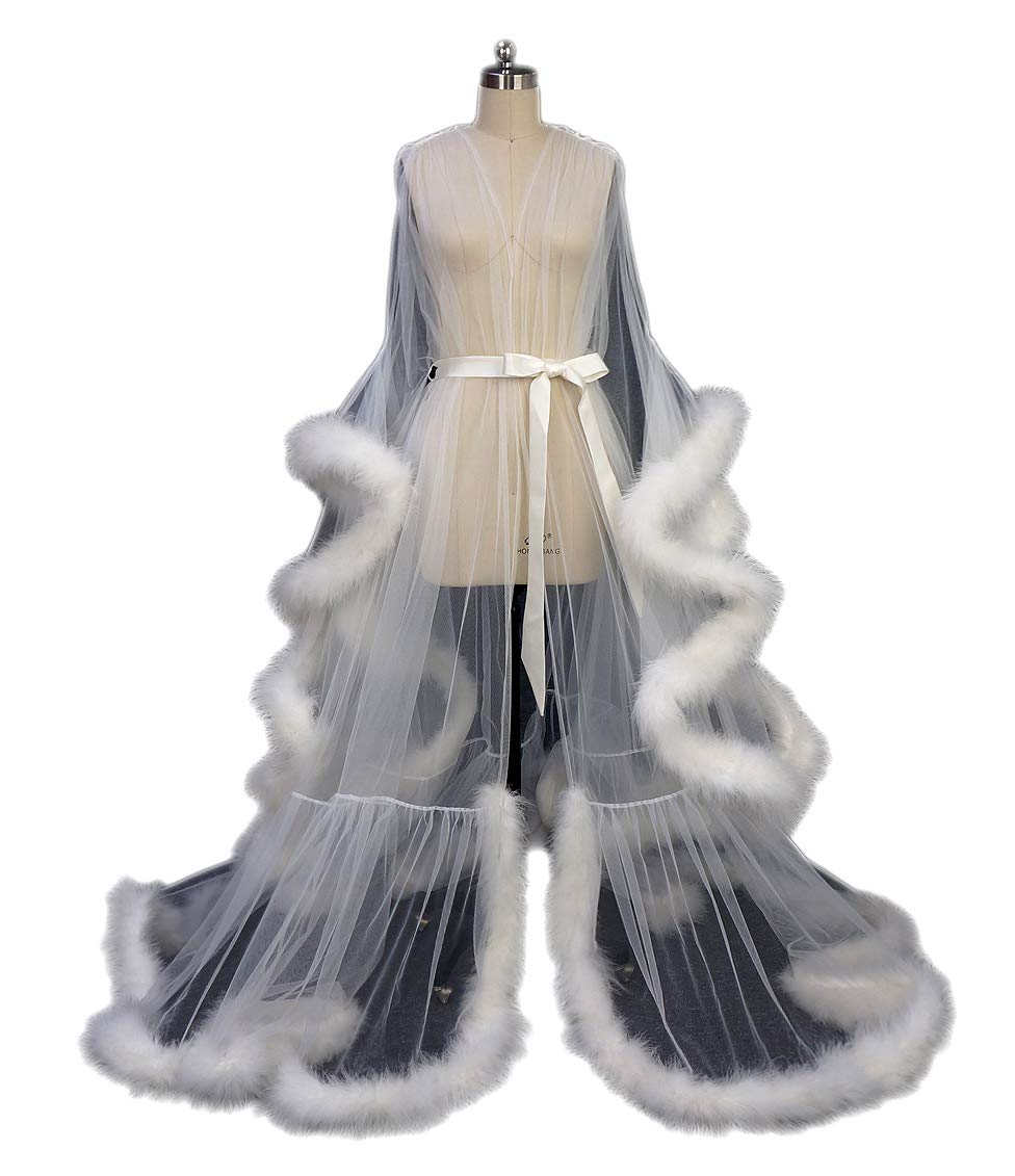 Old Hollywood Feather Bridal Robe Tulle Illusion Long Wedding Scarf New Custom Made (Ivory, M)