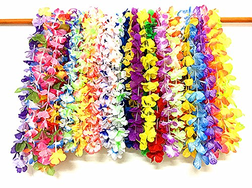 Hula Costume Patterns (36pcs of Hawaii Hula-hula Dancing Leis Garland Artificial Flowers Neck Loop by Alimitopia (Multicolor&Assorted Patterns))