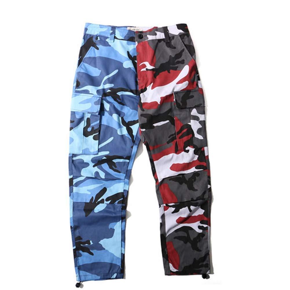 Männer Casual Hose Two Tone Camo Hosen Hip Hop Militär Cargo Hosen Patchwork Camouflage Multi Pocket Streetwear