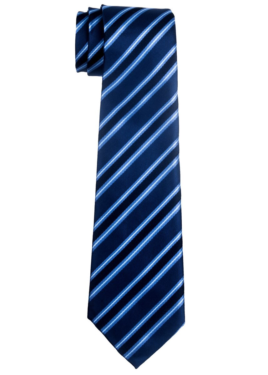 Preppy Stripe Pattern Woven Boy's Tie (8-10 years) - Blue