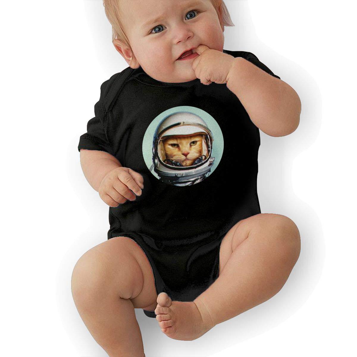 LANBRELLA Retro Space Cat Toddler Cotton Short Sleeves Playsuit Clothes Bodysuit