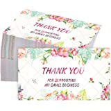 100 Pieces Thank You for Supporting My Business Cards Colorful Flower Customer Thank You Appreciation Cards Apply to Online,R