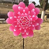 Onpiece Two-layer Butterfly Peony Flower Colourful Wind Spinner Windmill Home Garden Decor (Pink)