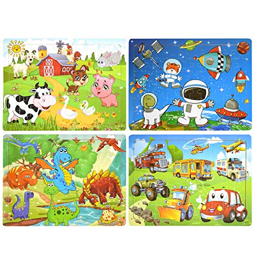 Wooden Puzzles, AKAMINO Wooden Animal Puzzles for Kids Age 3-8 Colorful 60 Pieces Jigsaw Puzzles Toys 4 Pack Preschool Educational Learning Toys Set for Boys and Girls