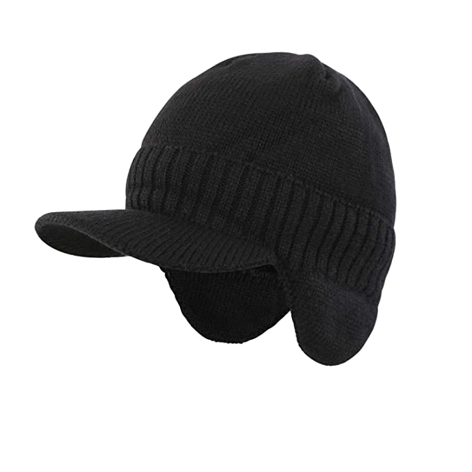 Home Prefer Men s Beanie Hat with Earflaps for Cold Weather Knitted Hat Ear  Cover Beanie Cap a385e2837de