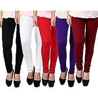 K's Creations Women's Cotton Lycra Churidar Leggings (Multicolour, Free Size) - Pack of 5