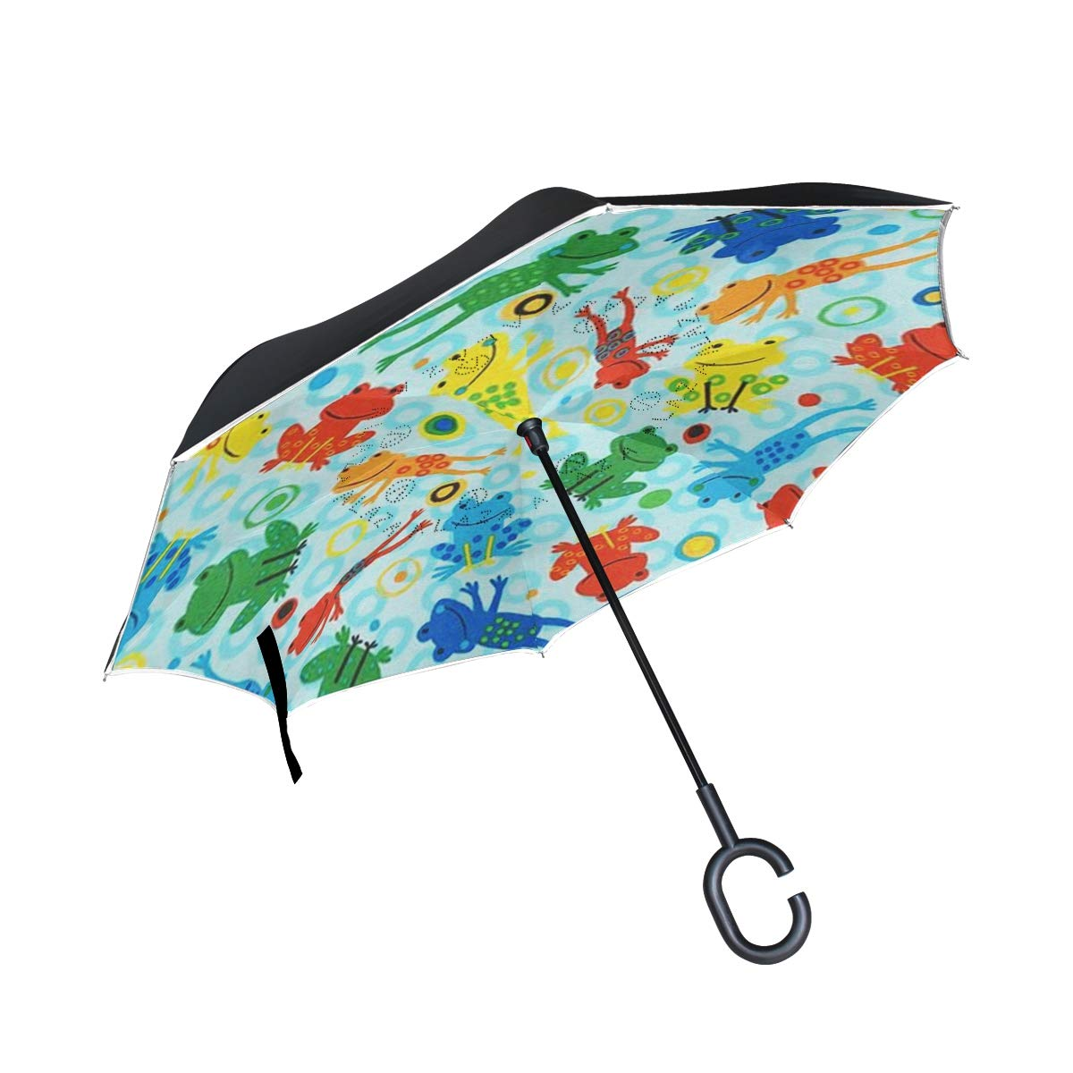 DOPKEEP Jump Into Fun Double Layer Inverted Umbrella Cars Reverse Umbrella,UV Protection Windproof Large Straight Umbrella for Car Rain Outdoor with C-Shaped Handle