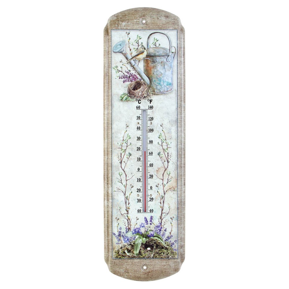 Timeless By Design Garden Birds Wall Thermometer - Indoor 5'' x 17''