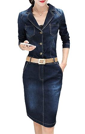 6b44b99a6f8 2017 Femme Sexy Robes Courte en Jeans Mince Slim Col V Manches Longues  Taille Haute Avec Ceinture Courte de Cocktail Chemisier Blouse Bleu   Amazon.fr  ...