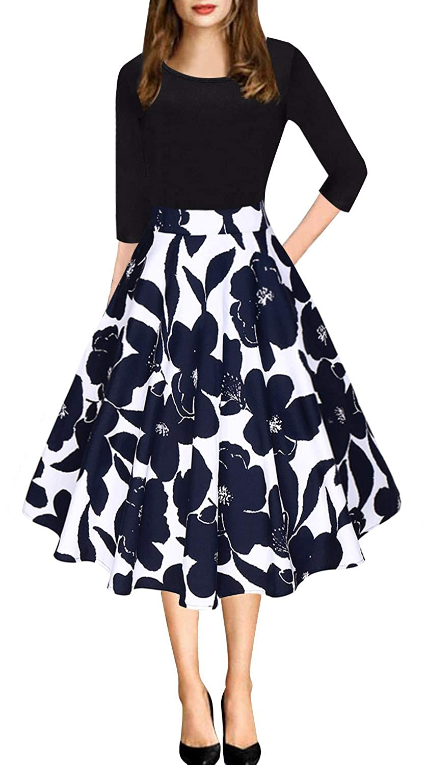 bluee Floral Women's Vintage Patchwork Pleated ALine Swing Casual Party Dress