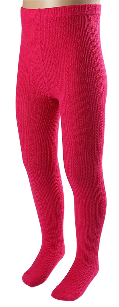 CHUNG Toddler Little Girls Cotton Footed Tights Cable knit Soft Stretchy Multi Color, Rosered, 5