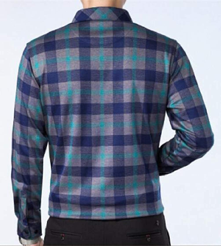 Etecredpow Mens Workwear Long Sleeve Checkered Button-Down Slim Shirts